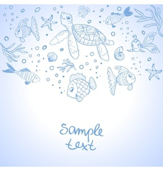 Turtle and fish silhouette vector