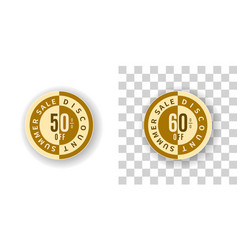 Summer sale sticker 50 and 60 percent discount vector