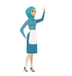 Young muslim cleaner pointing with her forefinger vector