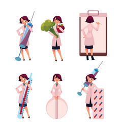 Woman doctor therapist with huge medical objects vector