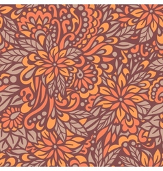 Autumn flowers seamless decorative pattern vector