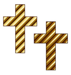 Golden striped christian cross vector
