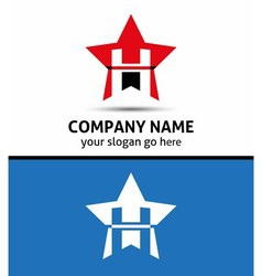 Letter h logo with star icon vector