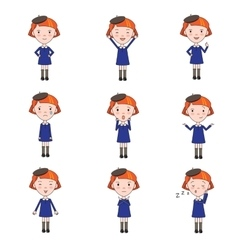 Set of emotions character in flat style vector