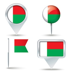 Map pins with flag of madagascar vector