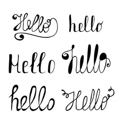 Hello in different style set hand drawn collection vector