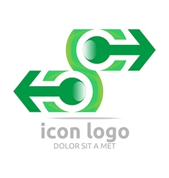 Logo icon arrow letter c green design symbol vector