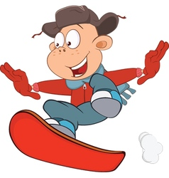 Cute boy snowboarding cartoon vector