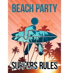 Beach surfers party poster template vector