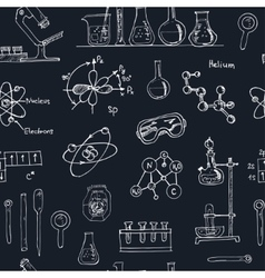 Doodle science lab objects seamless pattern back vector