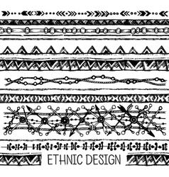 Tribal ethnic stripe seamless black and white vector