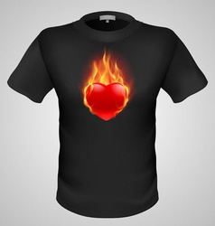 T shirts black fire print man 09 vector