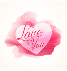 abstract watercolor pink paint with heart shape vector image vector image