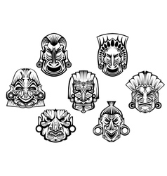 Ancient tribal religious masks vector