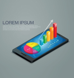 Business graph mobile phone vector