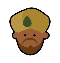 Cartoon face indian man turban vector