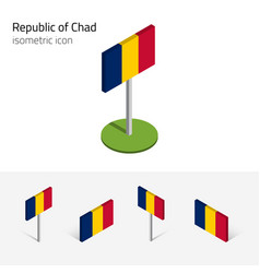 chad republic flag set 3d isometric icons vector image vector image