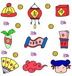 Chinese New Year of doodles vector image vector image