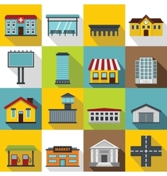 City infrastructure items icons set flat style vector