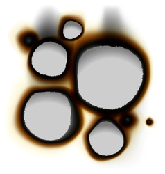 Collection of burnt holes in white paper vector