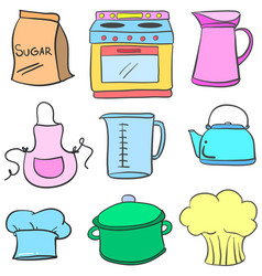 collection stock of kitchen equipment doodles vector image vector image
