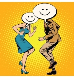 Comic smiley emoji dancers man woman vector