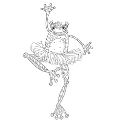 Cute frog girl ballerina vector