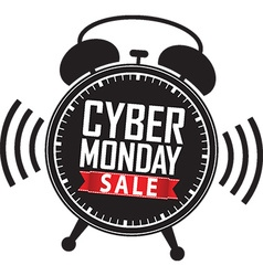 Cyber monday sale alarm clock black icon with red vector