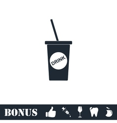 Disposable soda cup icon flat vector image vector image