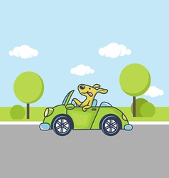 dog by car vector image vector image