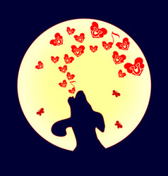 Dog was howling to the moon a small red heart vector