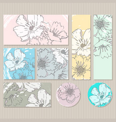 elegant cards with floral poppy bouquets vector image