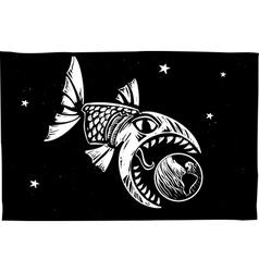 Fish eating earth vector