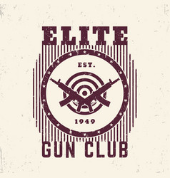 gun club vintage emblem with guns and target vector image vector image