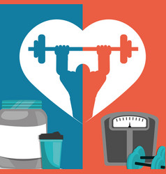 Gym poster weight protein food poster vector