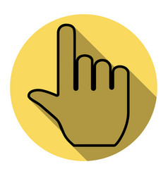 hand sign flat black icon vector image