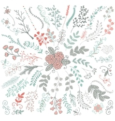Hand Sketched Rustic Floral Doodle Branches vector image
