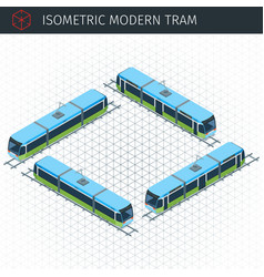 isometric city tram vector image
