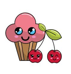 Kawaii cherry cup cake icon with beautiful vector