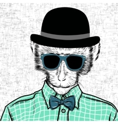 Macaque monkey hipster in a shirt poster hand vector image