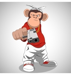 Monkey with a gun vector image vector image