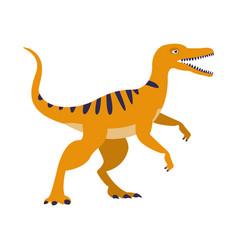 Orange raptor dinosaur of jurassic period vector