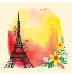 Paris cardEiffel towerWatercolor stainNarcissus vector image vector image