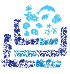 Sea life border 380 vector
