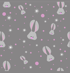 Seamless easter pattern with gray rabbits and vector