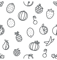 Seamless line art fruit icons set flat design vector