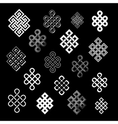 Set collection of the endless knots palbeu vector