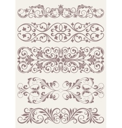 Set vintage ornate borders vector image vector image