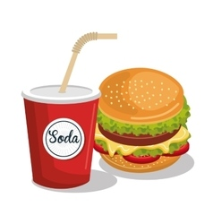 soda and burger isolated icon design vector image