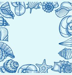 Vintage seafood frame vector